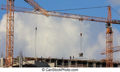 working construction cranes