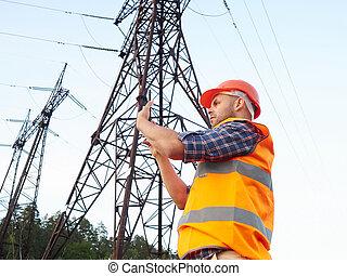 working., conversation, fonctionnement, téléphone, ingénieur électrique, tablet.