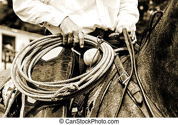 Working Cowboy Riding with Rope - Sepia Tint