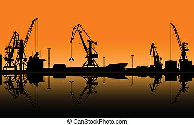 Working cranes unload cargo in seaport. Vector illustration...