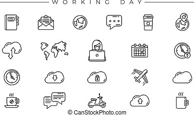 Set of Working Day icons is one of the modern line icons sets on the theme of Freelance Professions.