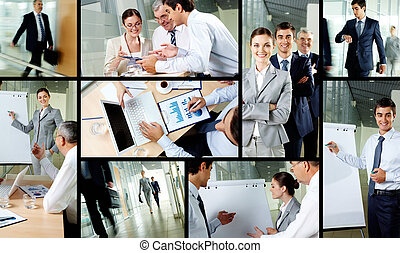 Working day in office - Collage of business partners working...