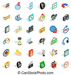 Working device icons set, isometric style