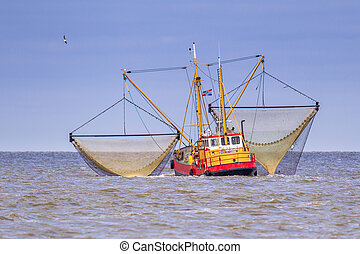 Working Dutch Shrimp fishing cutter vessel - Shrimp fishing...
