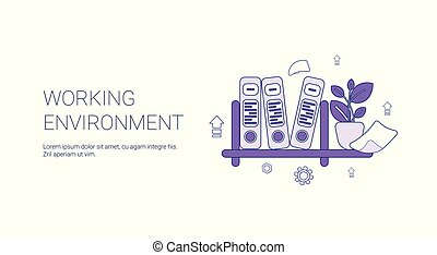 Working Environment Workplace Concept Template Web Banner With Copy Space