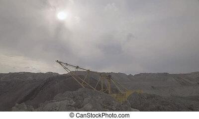 Working excavator dragline on open development of mineral...