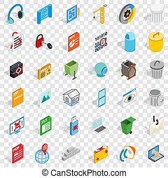 Working file icons set, isometric style