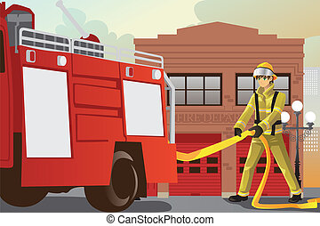Working fireman - A vector illustration of a fireman working...
