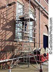 Working from a scaffold tower