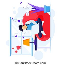 Working from home concept, A man work on laptop, stay at home on quarantine during the Coronavirus Epidemic illustration