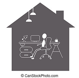 working from home - simple illustration of desk and a person working inside a house.