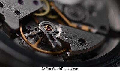 Working gear mechanism of an old wrist watch in macro. Close-up.