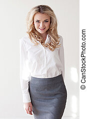 Working Girl Blonde white blouse