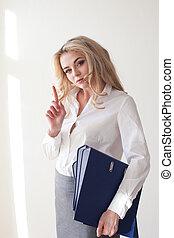 Working Girl Blonde white blouse grey skirt