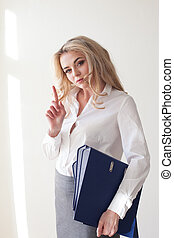 Working Girl Blonde white blouse grey skirt