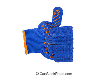 Hand wearing blue textile glove shows OK