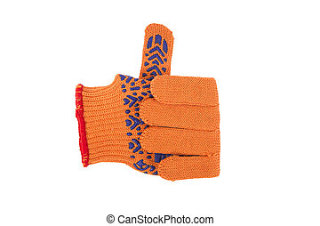 Hand wearing orange textile glove shows OK