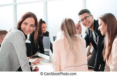 working group at the workplace in the office