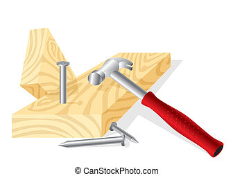 working hammer - vector image of a working hammer, nails and...