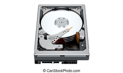 Working Hard Disk Drive (HDD). 3D rendering isolated on...
