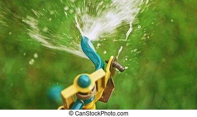 Working head of garden sprinkler in slow-motion, copy-space