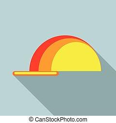 Working helmet icon, flat style