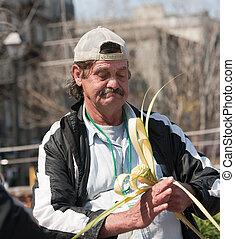 Working homeless man