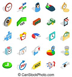 Working hour icons set, isometric style