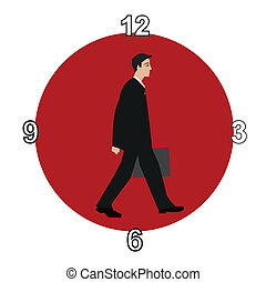 working hours - Businessman walking from night into day