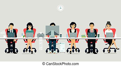 Working hours - Employees are working men and women with ...