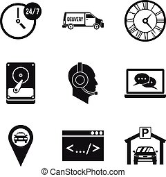 Working hours icons set, simple style - Working hours icons ...