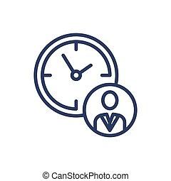 Working hours thin line icon. Office, employee, break ...