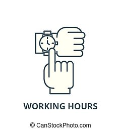 Working hours vector line icon, linear concept, outline sign...