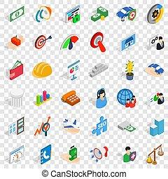 Working idea icons set, isometric style