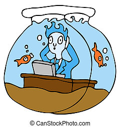 Working In A Fish Bowl - An image of a employee working in a...