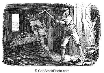 """Men working in a silver mine. Illustration originally published in Ernst von Hesse-Wartegg's """"Nord Amerika"""", swedish edition published in 1880. The image is currently in Public domain by virtue of age."""