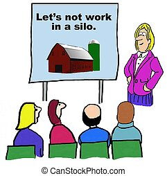 Working in a Silo - Business cartoon of seminar on not...