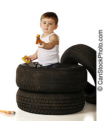 Working in a Tire