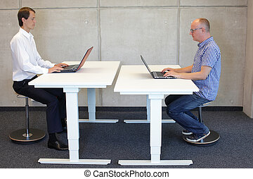 working in correct sitting posture