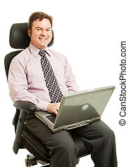 Working in Ergonomic Chair - Handsome businessman sitting...
