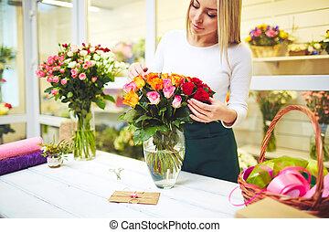 Working in flower shop