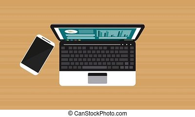 Working in laptop topview HD animation HD animation