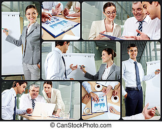 Working in office - Collage of business partners at work