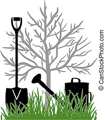 Working in the garden - Illustration with the watering can...