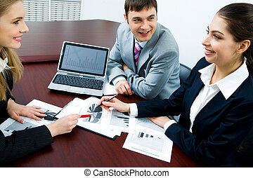 Working interaction - Portrait of business persons ...