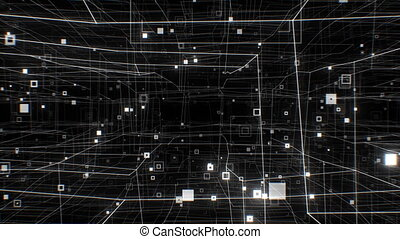Working Internet Network Structure Seamless. Looped 3d Animation of Beautiful Flight Through the Digital Abstract White Network Grid. Technological Concept. 4k Ultra HD 3840x2160.