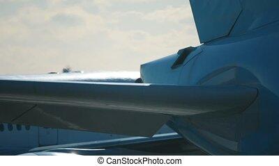 Working jet engine in International Airport