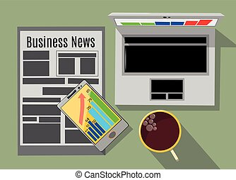 Working laptop, cup of coffee, telephone and newspaper on the table, business concept