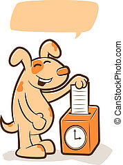 Illustration of a cute dog putting a time card in a timeclock