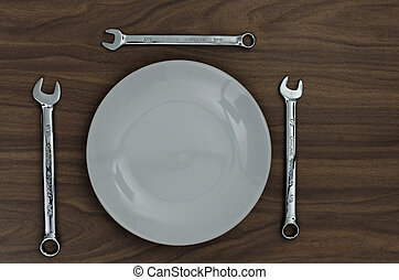 Working lunch. - 3 chrome vanadium spanners set around a...